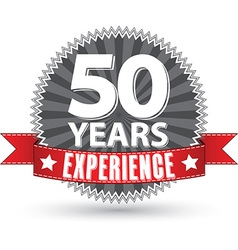 50 years experience retro label with red ribbon vector