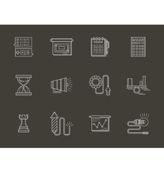 Business white line icons vector