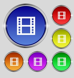 Film icon sign round symbol on bright colourful vector