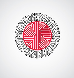 Abstract technology with round red circuit b vector