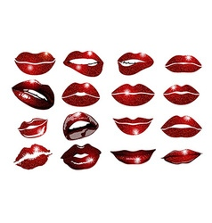Set of 16 glamour lips with vinous lipstick colors vector