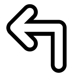 Turn left contour icon vector