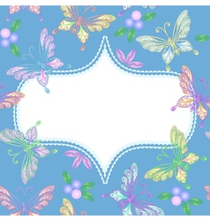 floral lace frame with butterflies vector image
