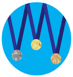 Set of medals gold silver bronze icon vector