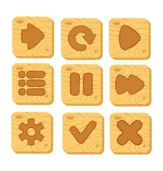 Set of wooden buttons vector