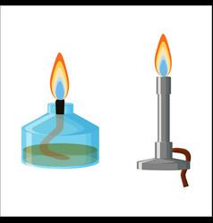 Alcohol spirit burner and bunsen burner vector