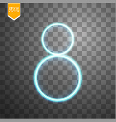 alphabets number 8 eight of blue neon on vector image