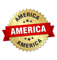 America round golden badge with red ribbon vector