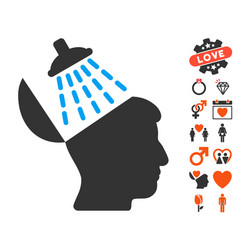 Brain washing icon with valentine bonus vector