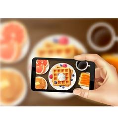 Breakfast smartphone photo realistic top image vector