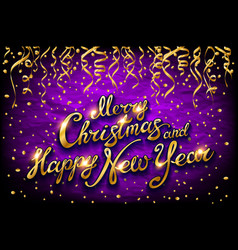christmas and new year typographical on violet vector image