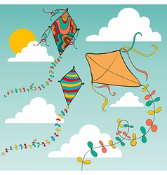 Colorful flying kites vector image vector image