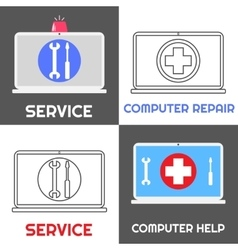 Computer repair service Laptop help icon set vector image