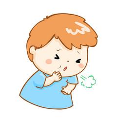 Coughing boy cartoon vector