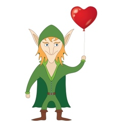 Elf with heart balloon vector image vector image