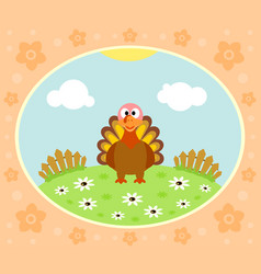 farm background with funny turkey vector image vector image