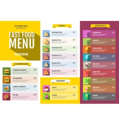 Flat style design of fast food menu vector image vector image