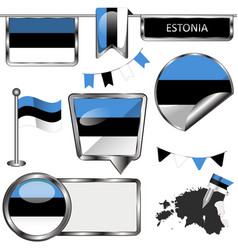 glossy icons with flag of estonia vector image vector image