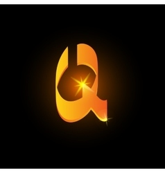 Golden arabic style letter q shiny latin alphabet vector