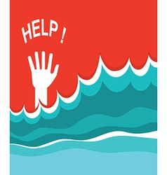 Hand of drowning poster vector