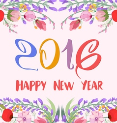 Happy new year 2016 watercolor wildflowers vector