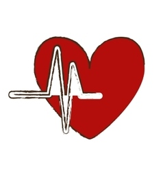 Heart cartoon with cardiogram icon image vector