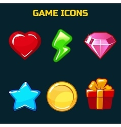 icons set for game user interface vector image vector image