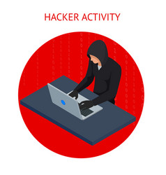 isometric internet hacker attack and vector image vector image