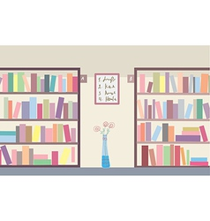 Library with bookshelves vector