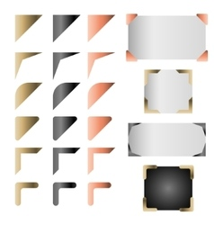 Metallic frame corner set vector