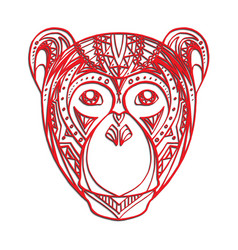 Monkey with a carved pattern for your cre vector
