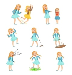 Older Girl Bullying Young Children And Behaving vector image vector image