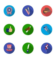 Patriot day set icons in flat style big vector