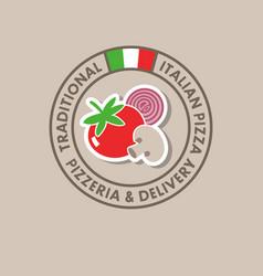 Pizzeria logo italian cuisine flag vector