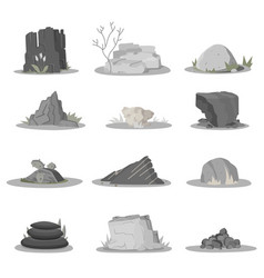Rocks and stones single or piled for damage rubbl vector