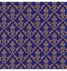 Seamless Damask Wallpaper 2 Blue Color vector image vector image