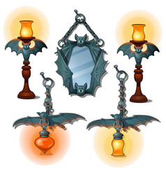 Set of lamps and mirror in bat form interior item vector
