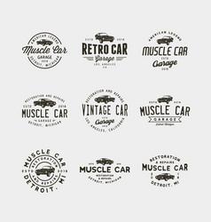 Set of vintage muscle car garage logos vector