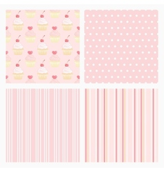 Set pink confectionery seamless background vector