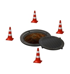 sewer manhole tunnel pit hole vector image vector image