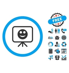 Smiley presentation screen flat icon with vector
