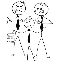 smiling businessman with two dangerous guys vector image
