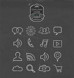 social media hand drawn sketch icon set vector image vector image