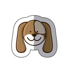 Sticker colorful picture face cute dog animal vector
