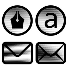 Striped email symbols vector