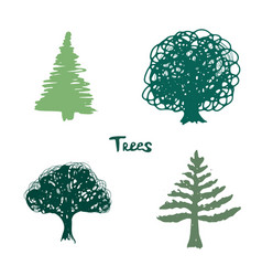 Trees green silhouette inked hand drawn isolated vector
