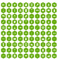 100 beer icons hexagon green vector