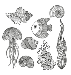 Set of marine life fish vector