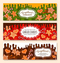 Banners set of gingerbread cookies bakery vector