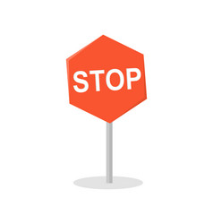 Stop road sign in flat design vector